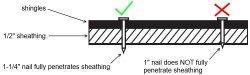 Short Nails in Shingles