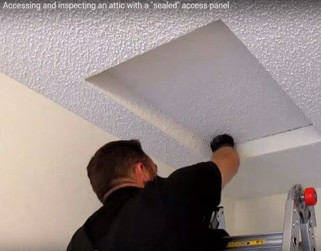 Attic inspections: opening sealed panels
