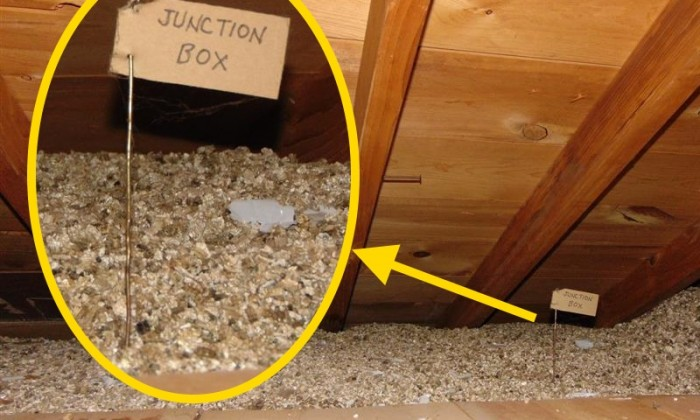 Junction box covered by vermiculite cover