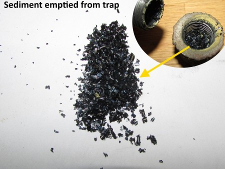 Sediment emptied from trap