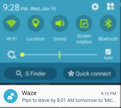 Waze reminder screen shot
