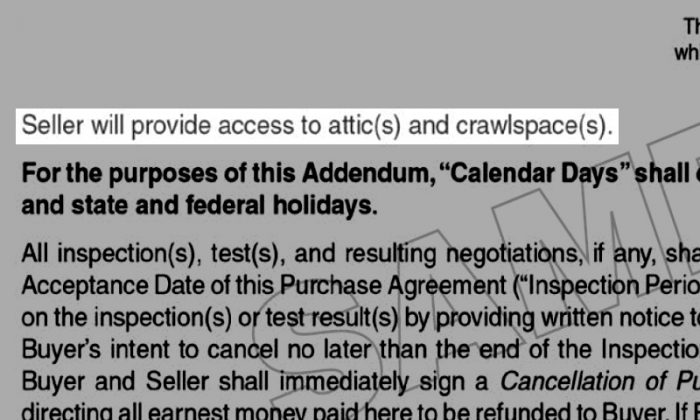 Seller will provide access to attic(s)