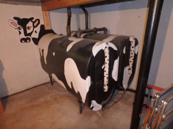 Fuel oil tanks painted like cows