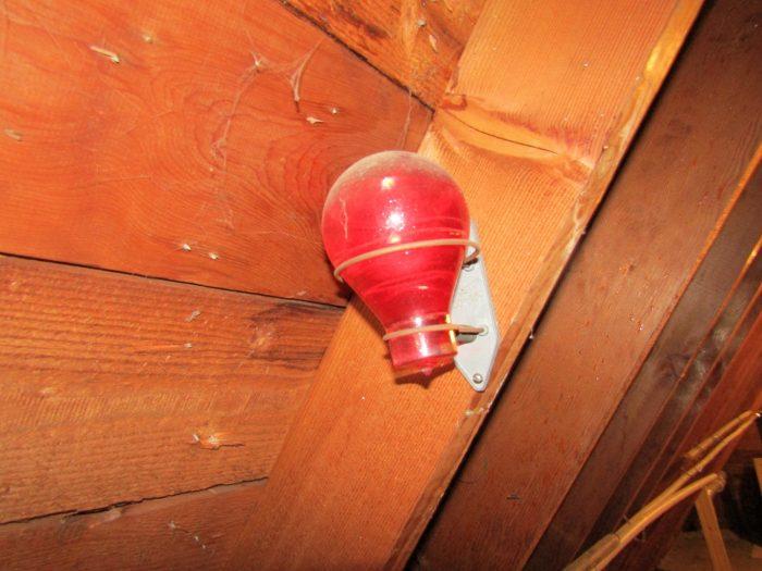 Red bomb in attic