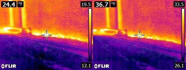 FLIR E6 vs. E8 House Exterior - base of masonry veneer wall
