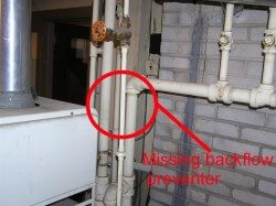 Missing backflow preventer