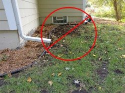 Downspouts discharging next to house