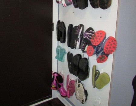 Shoe storage solution: a wall of shoes