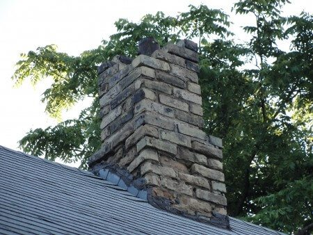 Missing bricks at chimney