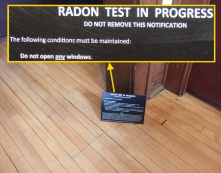 Radon test in progress cover