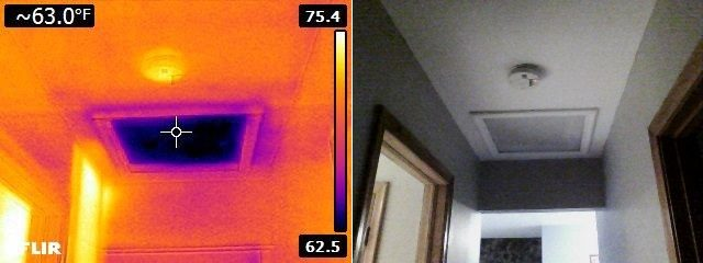 Infrared missing insulation at attic access panel
