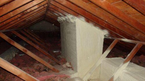 Spray foam at skylight shaft 1