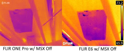 FLIR ONE Pro vs E6 with MSX off 3