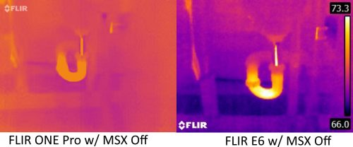 FLIR ONE Pro vs E6 with MSX off 4