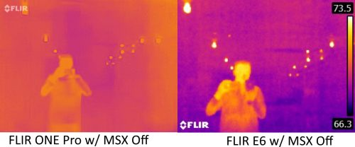 FLIR ONE Pro vs E6 with MSX off 1