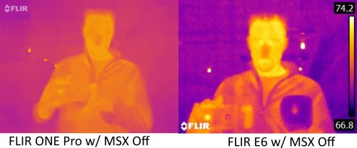 FLIR ONE Pro vs E6 with MSX off 2