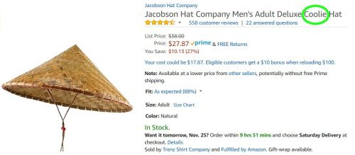 Coolie hat listing on Amazon