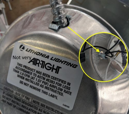 not very air-tight recessed light