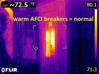 Warm AFCI Breakers normal