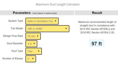 Broan duct length calculator