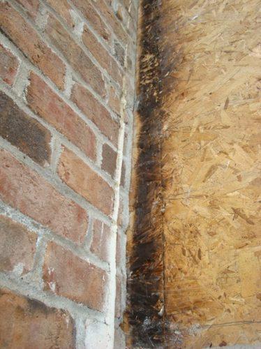 Scorched sheathing next to chimney 2