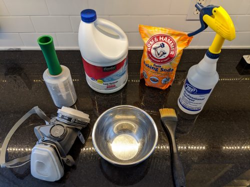 moldy caulk cleaning supplies